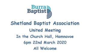 CANCELLED -United Shetland Baptist Association Meeting - CANCELLED